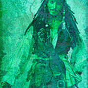 Pirate Johnny Depp - Shades Of Caribbean Green Poster