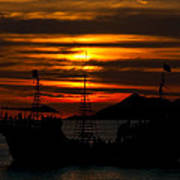 Pirate Ship At Sunset Poster by Robert Bascelli