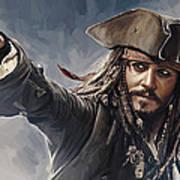 Pirates Of The Caribbean Johnny Depp Artwork 2 Poster