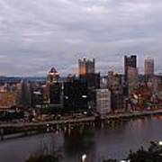 Pittsburgh Aerial Skyline At Dusk Poster