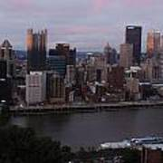 Pittsburgh Aerial Skyline At Sunset 3 Poster