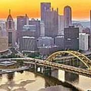 Pittsburgh Incline Sunrise Panorama Poster