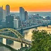 Pittsburgh Orange Skyline Poster
