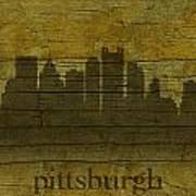 Pittsburgh Pennsylvania City Skyline Silhouette Distressed On Worn Peeling Wood Poster