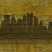Pittsburgh Pennsylvania City Skyline Silhouette Distressed On Worn Peeling Wood No Name Version Poster
