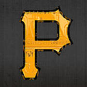 Pittsburgh Pirates Baseball Vintage Logo License Plate Art Poster