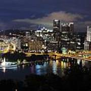 Pittsburgh Skyline At Night From Mount Washington 4 Poster