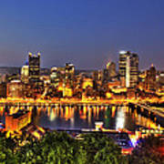 Pittsburgh Skyline At Night Poster