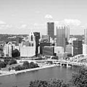 Pittsburgh Skyline From Mount Washington Black And White Poster