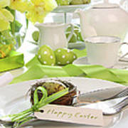 Place Setting With Place Card Set For Easter Poster by Sandra Cunningham