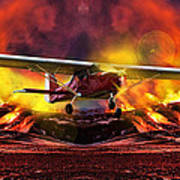 Plane And Fire Poster