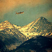 Plane Flying Over Mountains Poster