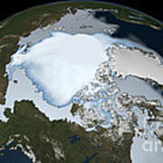 Planet Earth Showing Sea Ice Coverage Poster