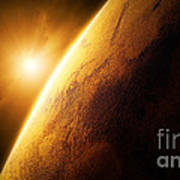 Planet Mars Close-up With Sunrise Poster