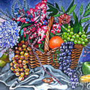 Plastic Fruits And Flowers Poster
