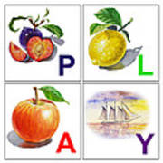 Play Art Alphabet For Kids Room Poster by Irina Sztukowski