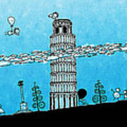 Playful Tower Of Pisa Poster