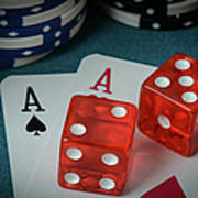 Playing Cards And Dice Used With Gamling Chips Poster