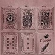 Playing Cards Patent Red Poster