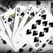 Playing Cards Royal Flush With Digital Border And Effects Poster