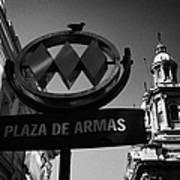 plaza de armas metro station near Santiago Metropolitan Cathedral Chile Poster