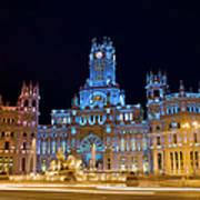 Plaza De Cibeles At Night In Madrid Poster