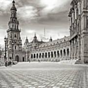 Plaza De Espana Seville Bw Poster