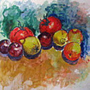 Plums Lemons Tomatoes Poster by Vladimir Kezerashvili