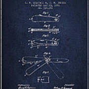 Pocket Knife Patent Drawing From 1886 - Navy Blue Poster