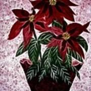 Poinsettias Expressive Brushstrokes Poster