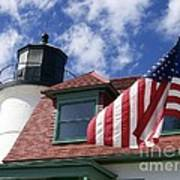 Point Betsie Lighthouse With Flag Poster