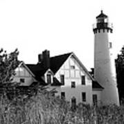 Point Iroquois Lighthouse In B/w Poster by Sharon McLain