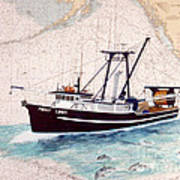 Point Loma Trawl Fishing Boat Nautical Chart Map Art Poster