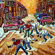 Pointe St.charles Hockey Game Winter Street Scenes Paintings Poster