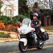 Police - Motorcycle Cop On Patrol Poster