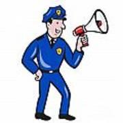 Policeman Shouting Bullhorn Isolated Cartoon Poster