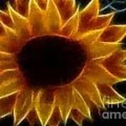 Polka Dot Glowing Sunflower Poster
