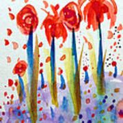 Pollinating Poppies Poster