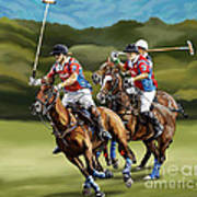 Polo Game Horses Poster