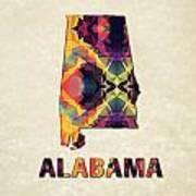 Polygon Mosaic Parchment Map Alabama Poster