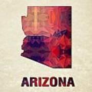 Polygon Mosaic Parchment Map Arizona Poster