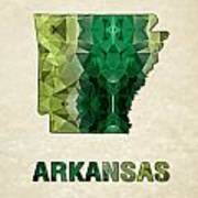 Polygon Mosaic Parchment Map Arkansas Poster