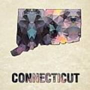 Polygon Mosaic Parchment Map Connecticut Poster