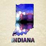 Polygon Mosaic Parchment Map Indiana Poster