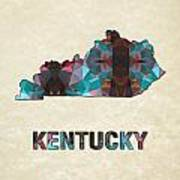 Polygon Mosaic Parchment Map Kentucky Poster