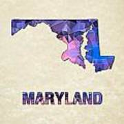 Polygon Mosaic Parchment Map Maryland Poster