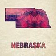 Polygon Mosaic Parchment Map Nebraska Poster