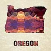 Polygon Mosaic Parchment Map Oregon Poster