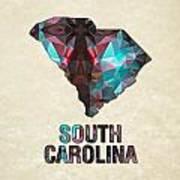 Polygon Mosaic Parchment Map South Carolina Poster