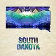 Polygon Mosaic Parchment Map South Dakota Poster